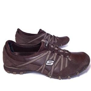 SKECHERS Genuine Leather & Suede Biker Sneakers